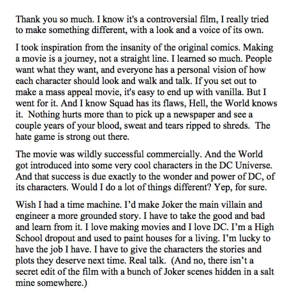 David Ayer Talks Suicide Squad Regrets2